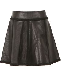 Alexander Wang Black Leather Aline Skirt - Lyst