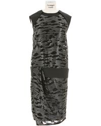 Alexander Wang Grey Organza Embroidered Draped Dress - Lyst