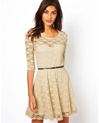 Asos Skater Dress In Lace With 3/4 Length Sleeves - Lyst