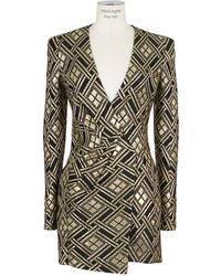 Balmain Lamé Draped Dress - Lyst