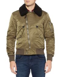 Burberry Brit - Shearling-Collar Bomber Jacket - Lyst