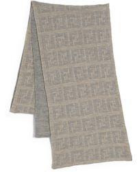 Fendi Logo Knit Wool Scarf - Lyst