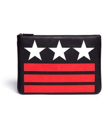 Givenchy Stars and Stripes Print Leather Zip Pouch - Lyst