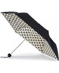 Lulu Guinness Lips Grid Superslim Umbrella black - Lyst