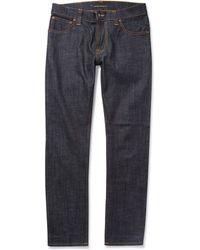 Nudie Jeans Thin Finn Slim-Fit Organic Dry Denim Jeans - Lyst