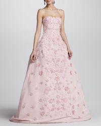 Oscar de la Renta Womens Strapless Floral Applique Ball Gown - Lyst