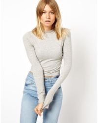 Asos The Turtleneck Crop Top With Long Sleeves - Lyst