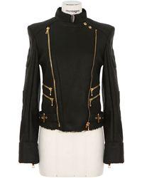 Balmain Black Shearling Leather Jacket - Lyst