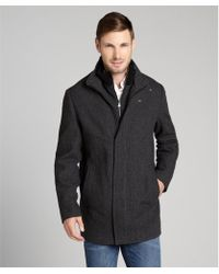 Calvin Klein  Herringbone Zip Up Wool Coat - Lyst