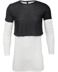 Gareth Pugh - Double Layered Ribbed Top Whiteblack - Lyst