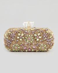 Marchesa Lily Crystal Embroidered Box Clutch Bag Goldmulti - Lyst
