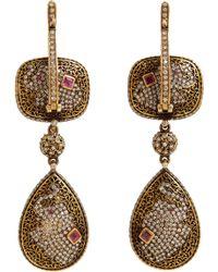 Munnu - Pink Tourmaline & Diamond Triple-Drop Earrings - Lyst