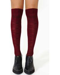 Nasty Gal Miss Popular Knee High Socks Wine - Lyst