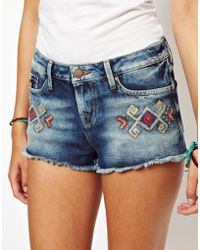 G-Star RAW - Pepe Jeans Embroidered Denim Shorts - Lyst