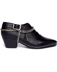 Underground Winklepicker Chain Leather Ankle Booties - Lyst