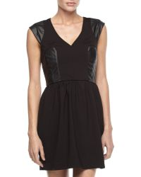 French connection Ponte  Fauxleather Fitandflare Dress - Lyst