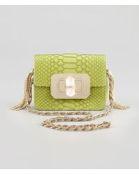 Marchesa Phoebe Small Python Shoulder Bag Chartreuse - Lyst