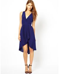 Aryn K. Draped Silk Dress with Wrap Front - Lyst