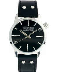Boutique Moschino - Black Dial Ladies Watch with Black Leather Strap - Lyst