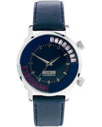 Boutique Moschino - Blue Ladies Watch with Moveable Ring and Leather Strap - Lyst