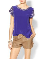 Rebecca Taylor Embellished Silk Short Sleeve Blouse - Lyst