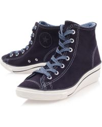 Converse - Navy Chuck Taylor Suede Hi Top Wedge Trainers - Lyst