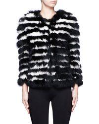 Alice + Olivia Fawn Striped Fur Jacket - Lyst
