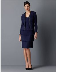 Patra - Navy Pleated Chiffon Jacket Dress - Lyst