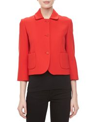 Michael Kors Boucle Threebutton Cropped Jacket - Lyst