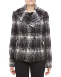 Michael Kors Mohair Plaid Doublebreasted Jacket Blackivory - Lyst