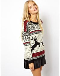 Reclaimed (vintage) Asos Christmas Sweater in Reindeer Fairisle - Lyst