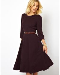 Asos Midi Dress with Belt - Lyst