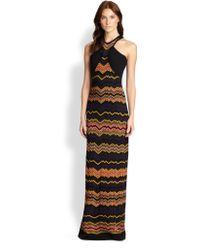 M Missoni Zigzag Halter Maxi Dress - Lyst