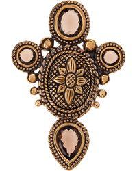 Stephen Dweck - Smokey Quartz Carved Bronze Pin - Lyst