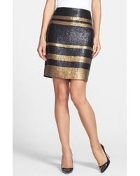 Adrianna Papell Stripe Sequin Pencil Skirt - Lyst