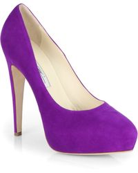 Brian Atwood Obsession Suede Platform Pumps - Lyst
