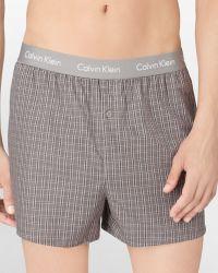 Calvin Klein Slim Fit Woven Plaid Boxer Shorts - Lyst