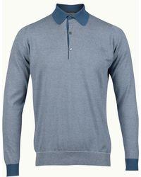 John Smedley Long Sleeved Polo - Lyst