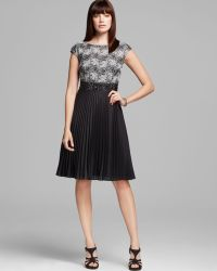 Kay Unger Lace Top Pleated Skirt Dress - Lyst