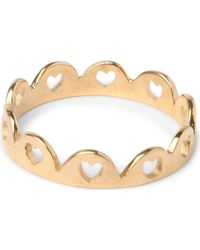 Tatty Devine - Crown Of Hearts 18ct Goldplated Ring - Lyst
