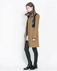 Zara Combined Faux Leather Coat - Lyst