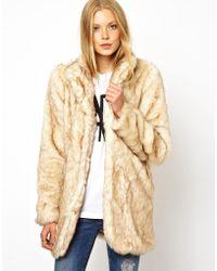 Wolford - Asos Longline Faux Fur Coat - Lyst