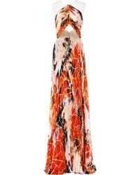 Bibhu Mohapatra Palash Print Chiffon Illusion Halter Gown orange - Lyst