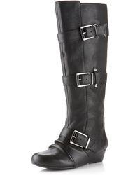 Miss Sixty - Buckleshaft Wedge Boot Black - Lyst