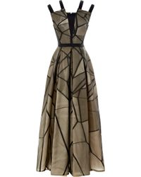 Bibhu Mohapatra Fracture Organza Jacquard Double Strap Gown black - Lyst