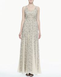 Alice + Olivia Kravit Fluted Lace Maxi Dress - Lyst