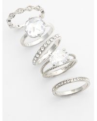 Ariella Collection Mixed Stackable Rings - Clear/ Silver (Set Of 5) - Lyst