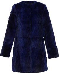 Diane von Furstenberg Rabbit Fur Candice Coat In Ultramarine - Lyst