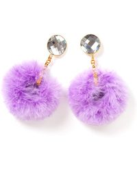 House of Holland - Ss11 Lilac Marabou Hoop Earring - Lyst