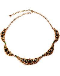 House of Lavande - N N Vintage Hattie Carnegie Intertwined Gold Ropes Emeralds Choker Necklace - Lyst
